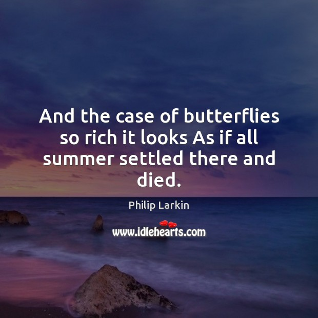 And the case of butterflies so rich it looks As if all summer settled there and died. Philip Larkin Picture Quote
