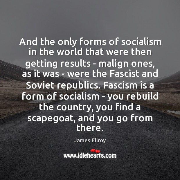 And the only forms of socialism in the world that were then James Ellroy Picture Quote