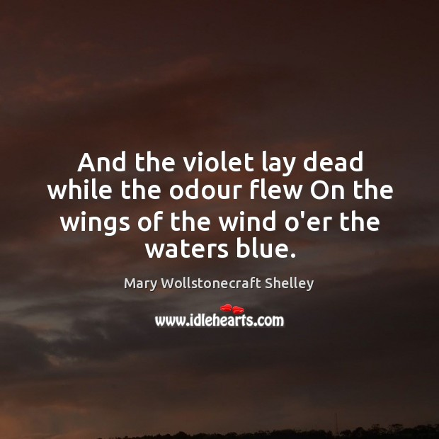And the violet lay dead while the odour flew On the wings Mary Wollstonecraft Shelley Picture Quote