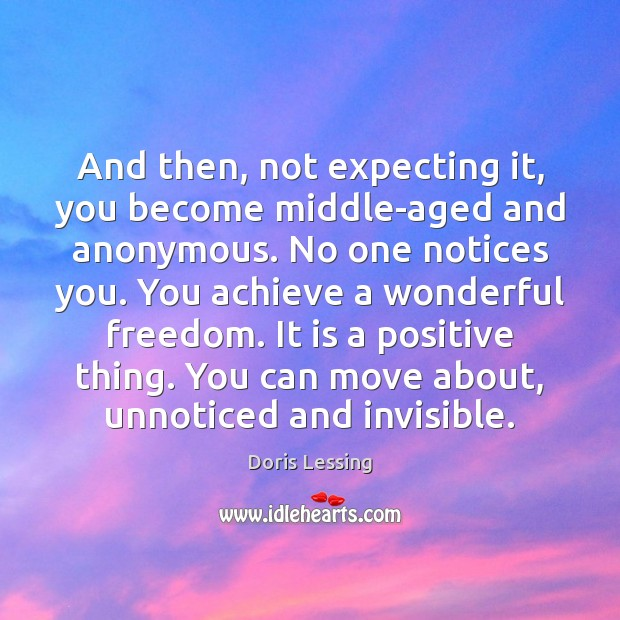 And then, not expecting it, you become middle-aged and anonymous. No one Doris Lessing Picture Quote