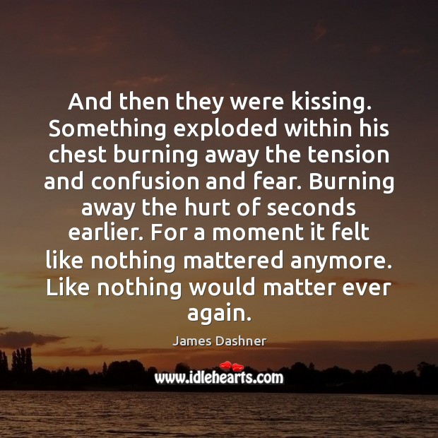And then they were kissing. Something exploded within his chest burning away Image