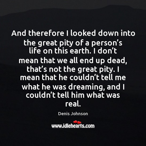 And therefore I looked down into the great pity of a person' Denis Johnson Picture Quote