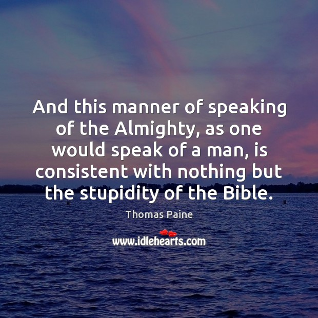 Image, And this manner of speaking of the Almighty, as one would speak