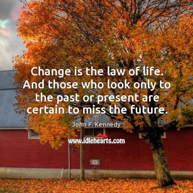 Image, And those who look only to the past or present are certain to miss the future.