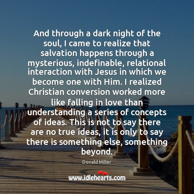 And through a dark night of the soul, I came to realize Donald Miller Picture Quote