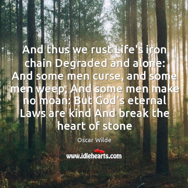 Image, And thus we rust Life's iron chain Degraded and alone: And some