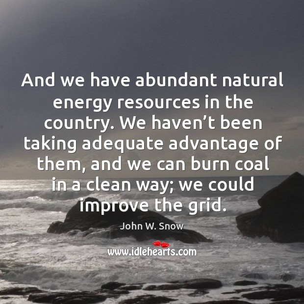 And we have abundant natural energy resources in the country. We haven't been taking adequate Image