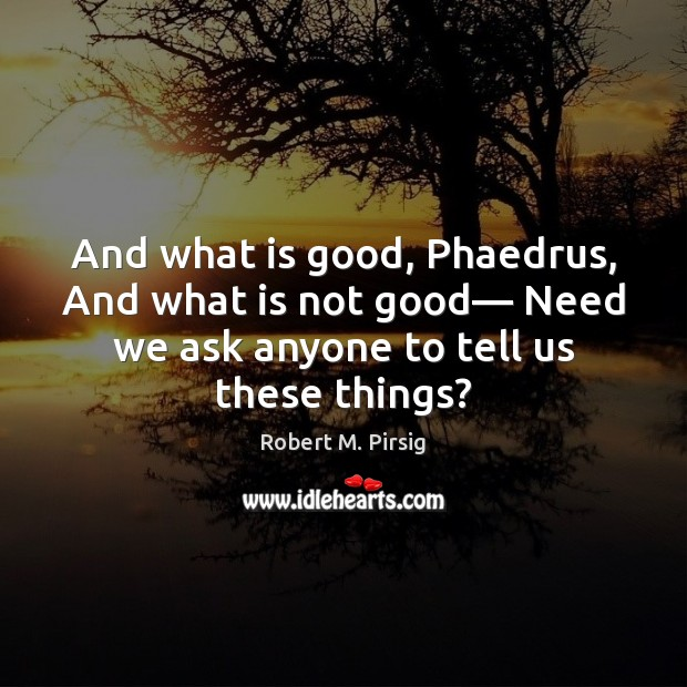 And what is good, Phaedrus, And what is not good— Need we Robert M. Pirsig Picture Quote