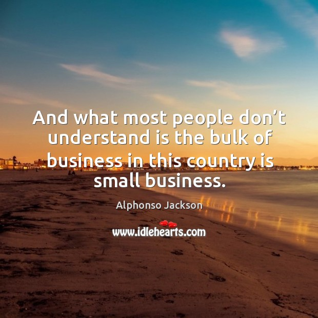 And what most people don't understand is the bulk of business in this country is small business. Image