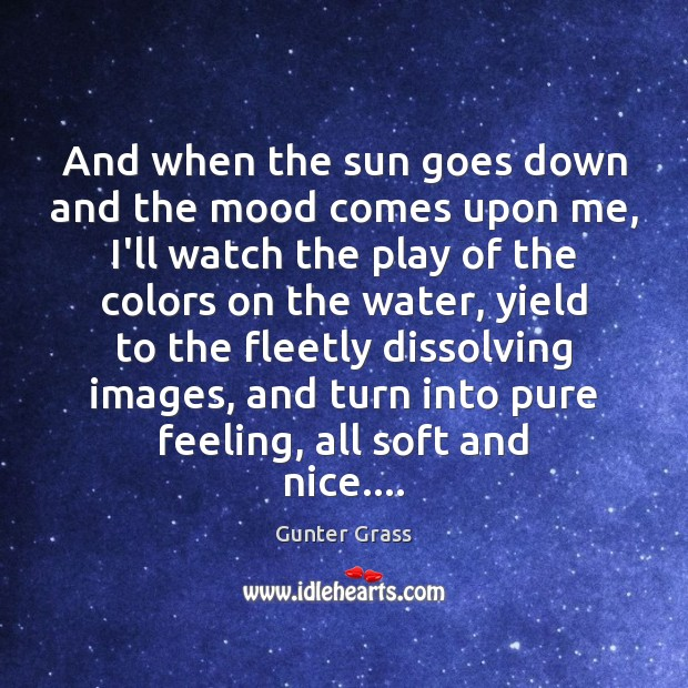 And when the sun goes down and the mood comes upon me, Gunter Grass Picture Quote