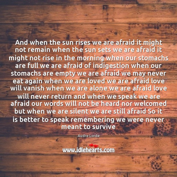 And when the sun rises we are afraid it might not remain Audre Lorde Picture Quote