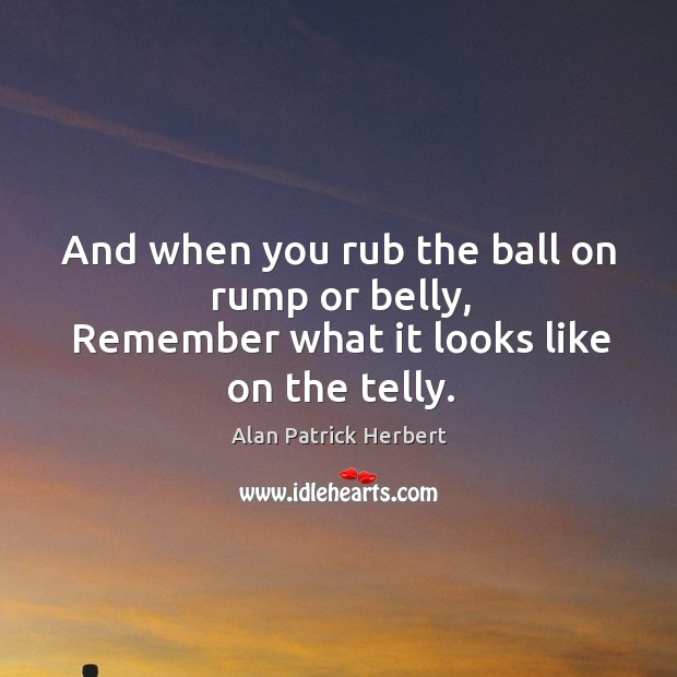 Image, And when you rub the ball on rump or belly, remember what it looks like on the telly.