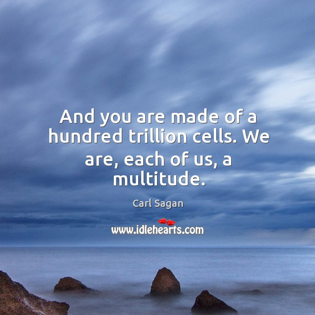 Image, And you are made of a hundred trillion cells. We are, each of us, a multitude.