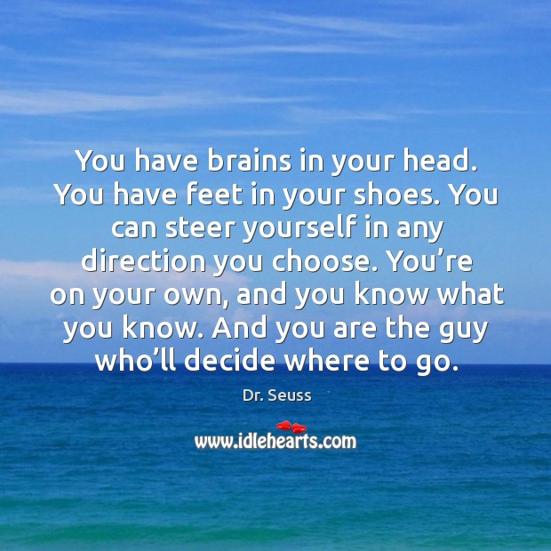 And you are the guy who'll decide where to go. Image