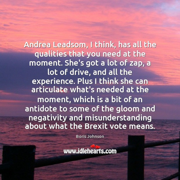 Andrea Leadsom, I think, has all the qualities that you need at Misunderstanding Quotes Image