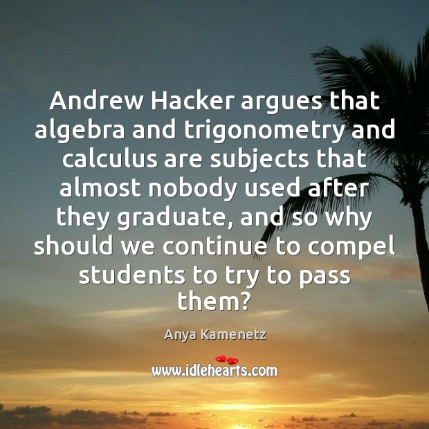 Image, Andrew Hacker argues that algebra and trigonometry and calculus are subjects that