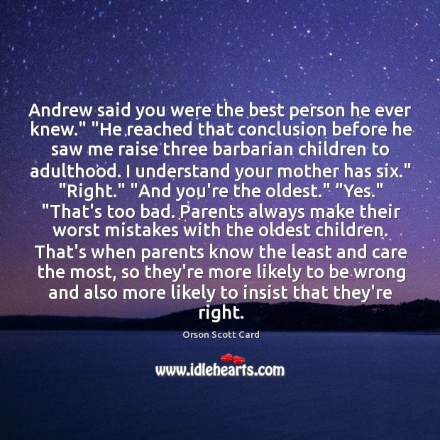 """Image, Andrew said you were the best person he ever knew."""" """"He reached"""