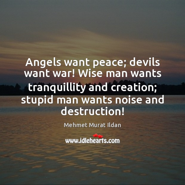 Angels want peace; devils want war! Wise man wants tranquillity and creation; Image