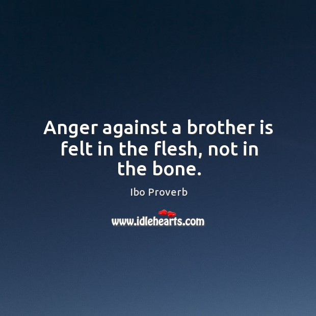 Anger against a brother is felt in the flesh, not in the bone. Ibo Proverbs Image