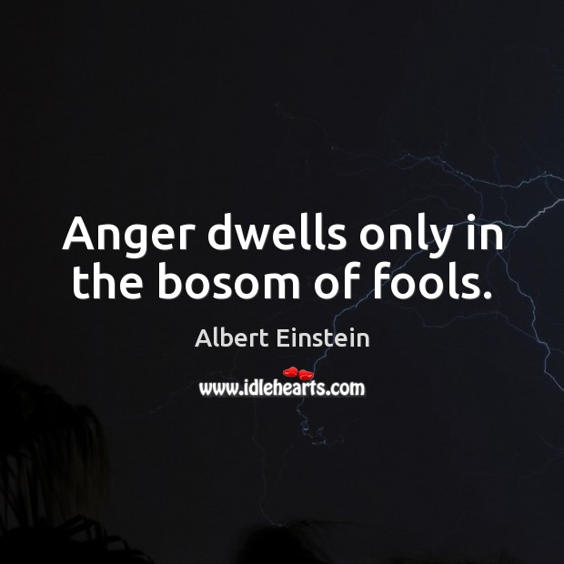 Image, Anger dwells only in the bosom of fools.