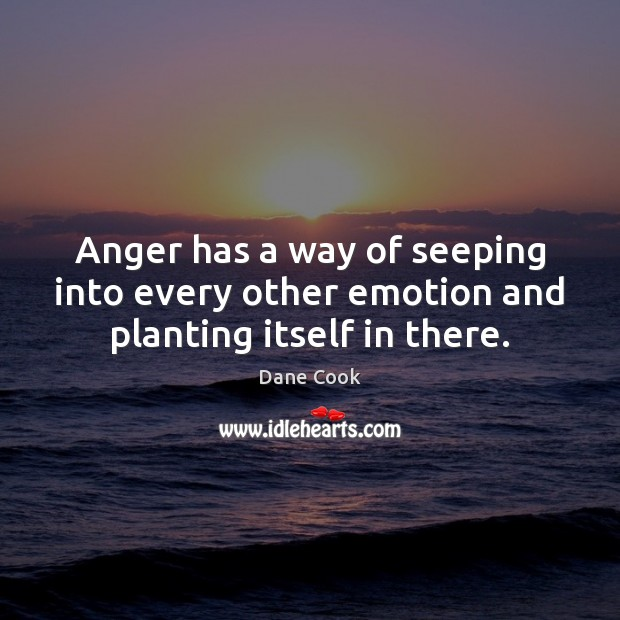 Anger has a way of seeping into every other emotion and planting itself in there. Dane Cook Picture Quote