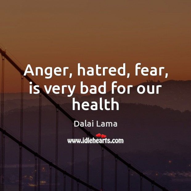 Anger, hatred, fear, is very bad for our health Dalai Lama Picture Quote