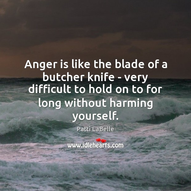 Anger is like the blade of a butcher knife – very difficult Anger Quotes Image