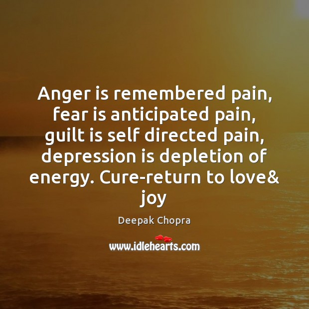 Anger is remembered pain, fear is anticipated pain, guilt is self directed Depression Quotes Image