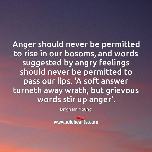 Image, Anger should never be permitted to rise in our bosoms, and words