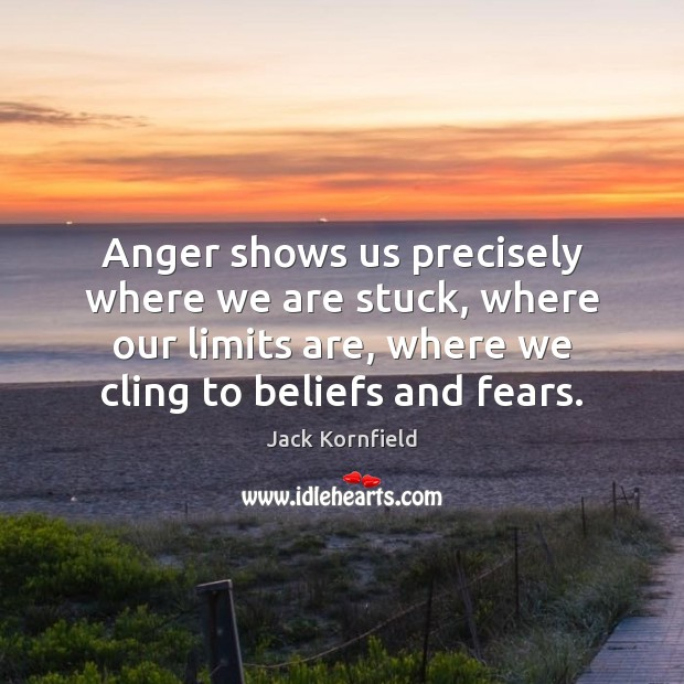 Anger shows us precisely where we are stuck, where our limits are, Jack Kornfield Picture Quote