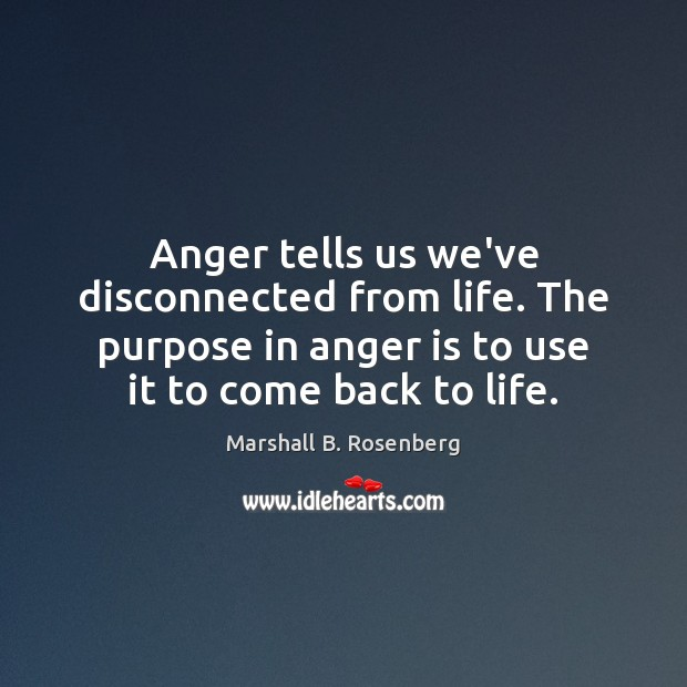 Image, Anger tells us we've disconnected from life. The purpose in anger is