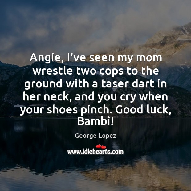 Angie, I've seen my mom wrestle two cops to the ground with George Lopez Picture Quote