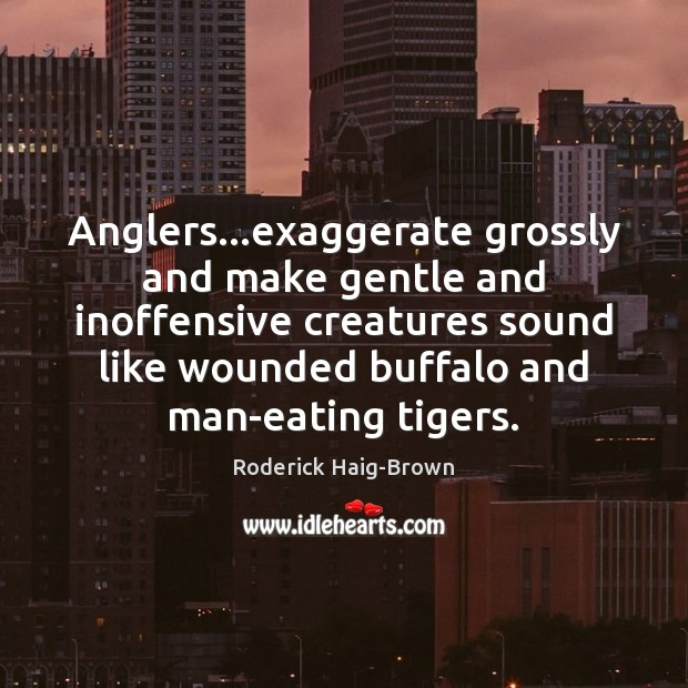Anglers…exaggerate grossly and make gentle and inoffensive creatures sound like wounded Roderick Haig-Brown Picture Quote