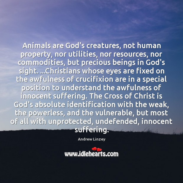 Animals are God's creatures, not human property, nor utilities, nor resources, nor Image