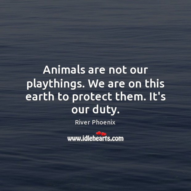 Animals are not our playthings. We are on this earth to protect them. It's our duty. Image