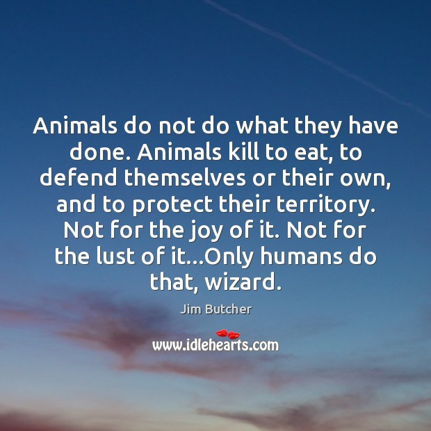 Animals do not do what they have done. Animals kill to eat, Image