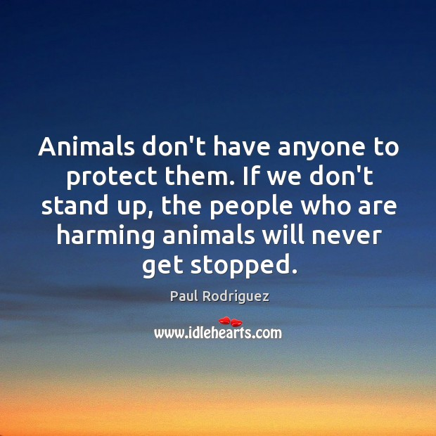 Animals don't have anyone to protect them. If we don't stand up, Image