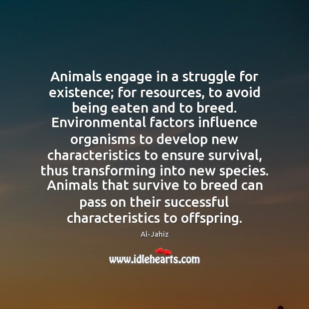 Animals engage in a struggle for existence; for resources, to avoid being Image