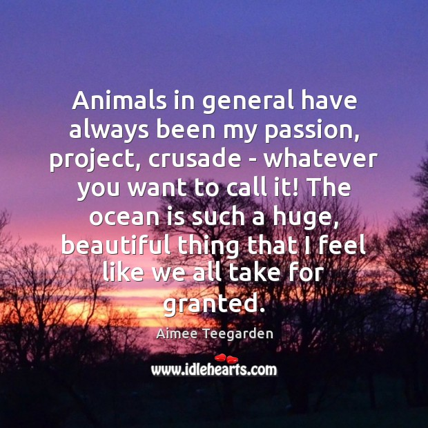 Animals in general have always been my passion, project, crusade – whatever Image