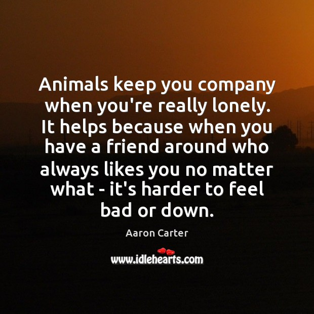 Image, Animals keep you company when you're really lonely. It helps because when