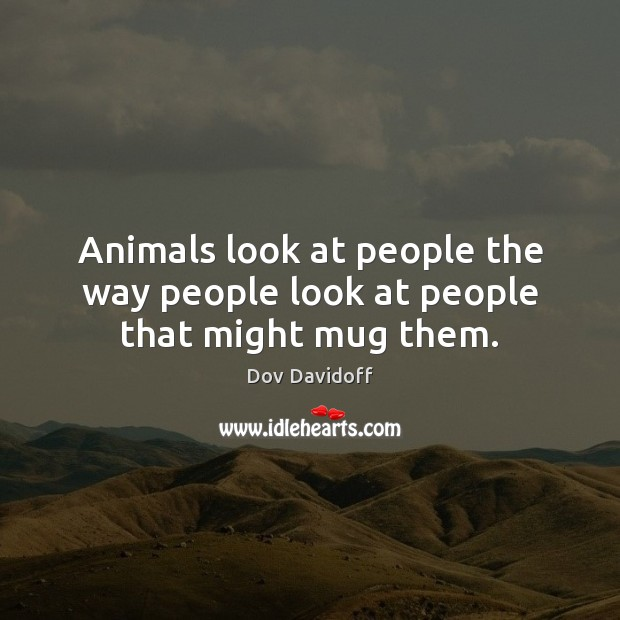 Animals look at people the way people look at people that might mug them. Dov Davidoff Picture Quote