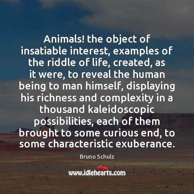 Image, Animals! the object of insatiable interest, examples of the riddle of life,