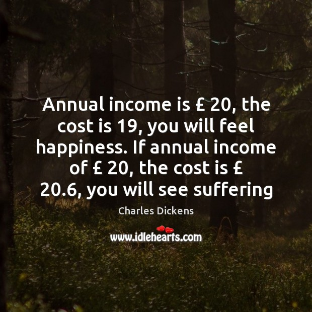 Image, Annual income is £ 20, the cost is 19, you will feel happiness. If annual