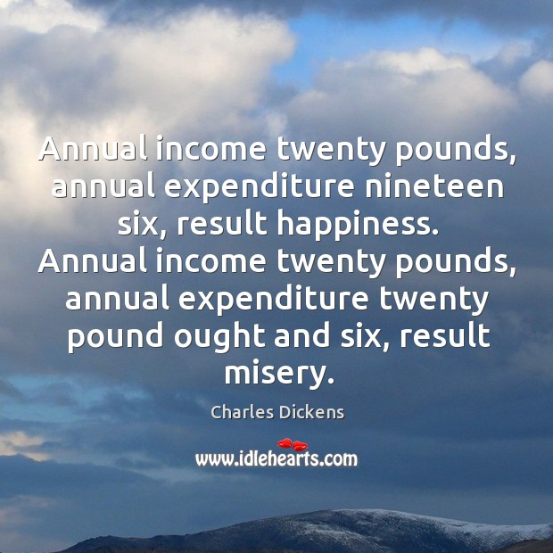Image, Annual income twenty pounds, annual expenditure nineteen six, result happiness. Annual income