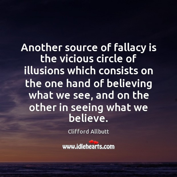 Another source of fallacy is the vicious circle of illusions which consists Image
