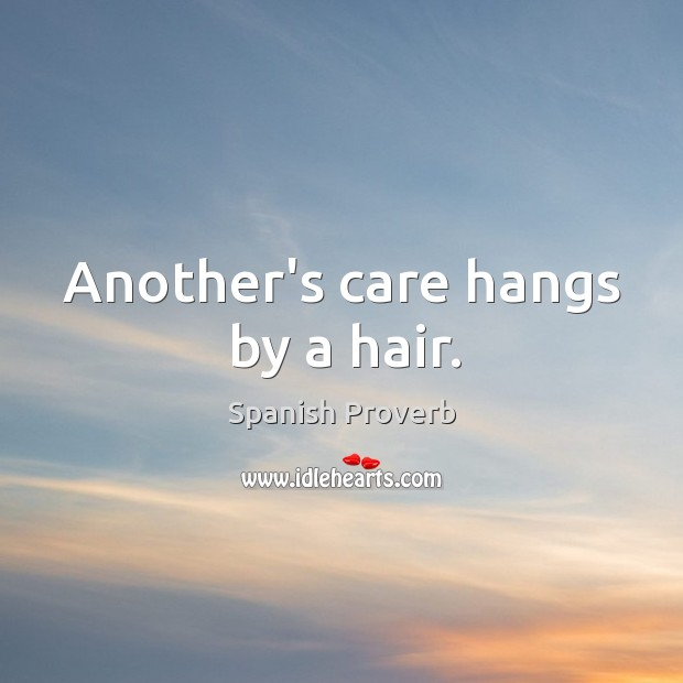 Image, Another's care hangs by a hair.