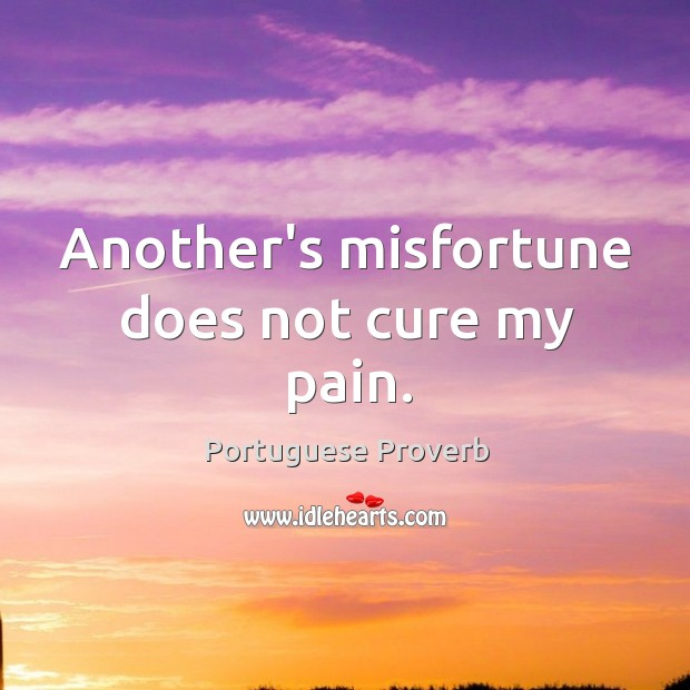 Image, Another's misfortune does not cure my pain.