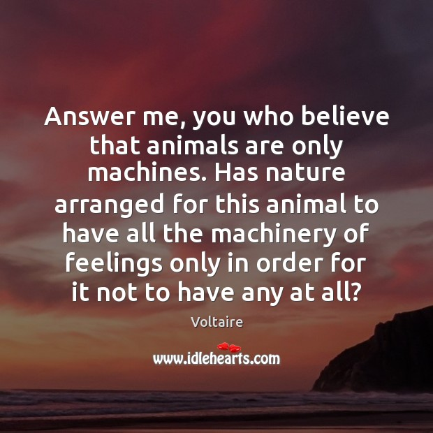 Image, Answer me, you who believe that animals are only machines. Has nature