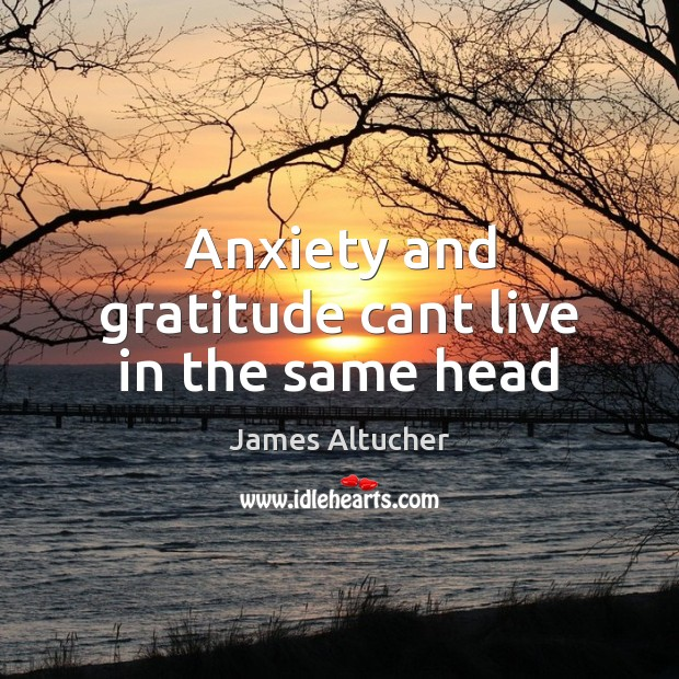 Image, Anxiety and gratitude cant live in the same head