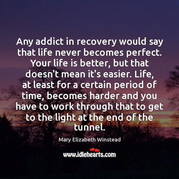 Any addict in recovery would say that life never becomes perfect. Your Mary Elizabeth Winstead Picture Quote